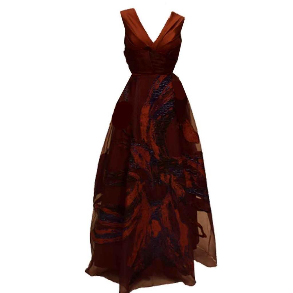 فستان عنابي قماش زري تركي