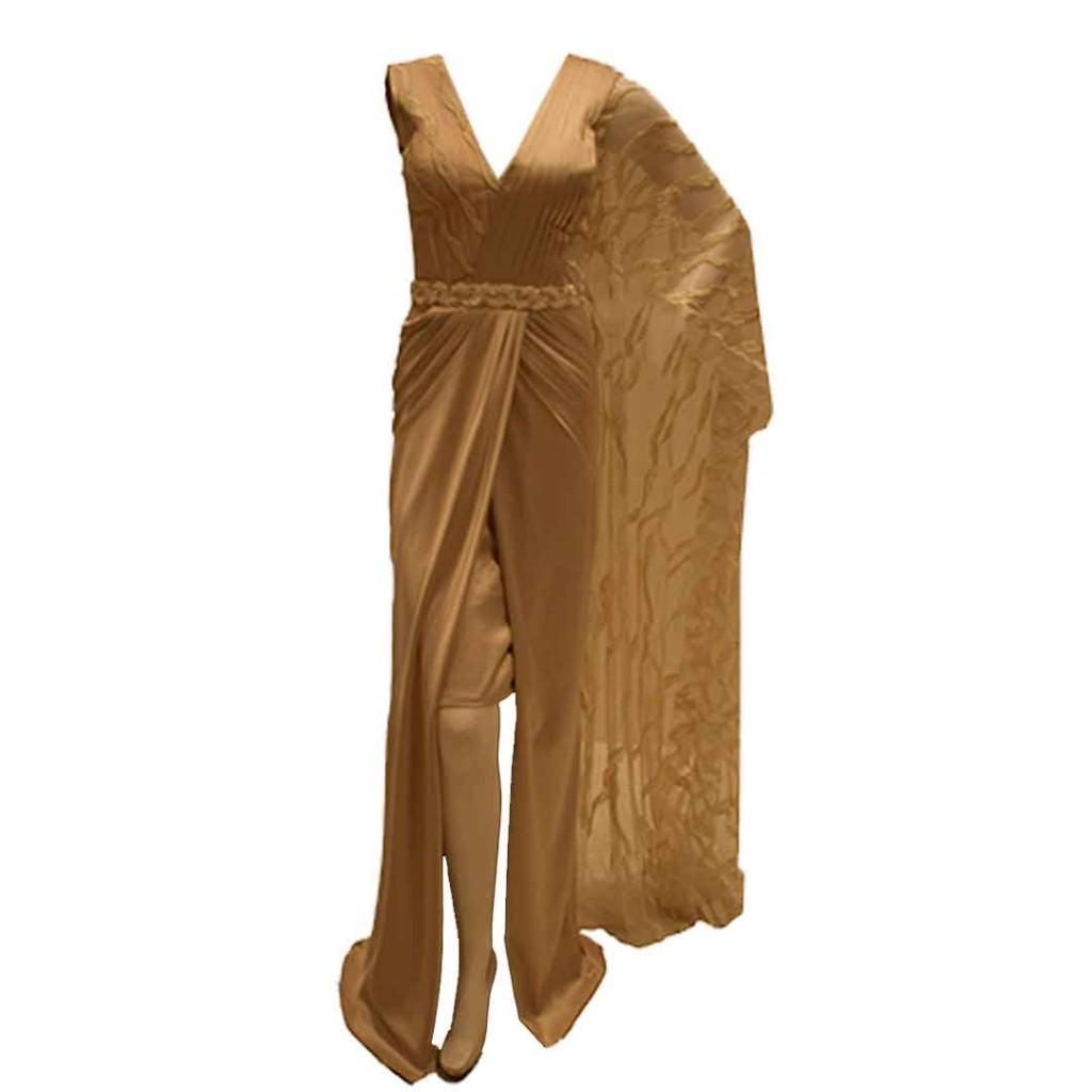 فستان سكري كتف واحد دانتيل طويل حزام شك