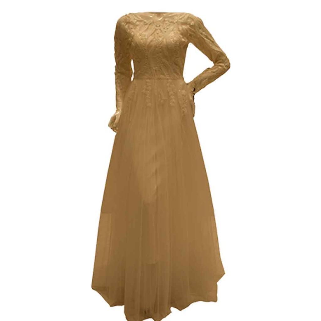 فستان صدر دانتيل كم طويل