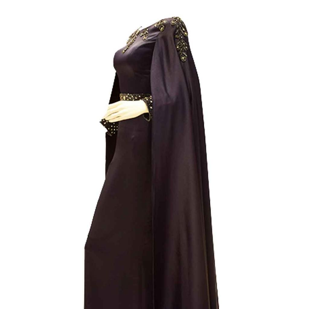فستان كحلي مدموج بقماش حرير