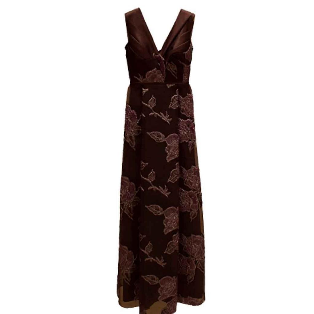 فستان موف ورود كبيره قماش تركي
