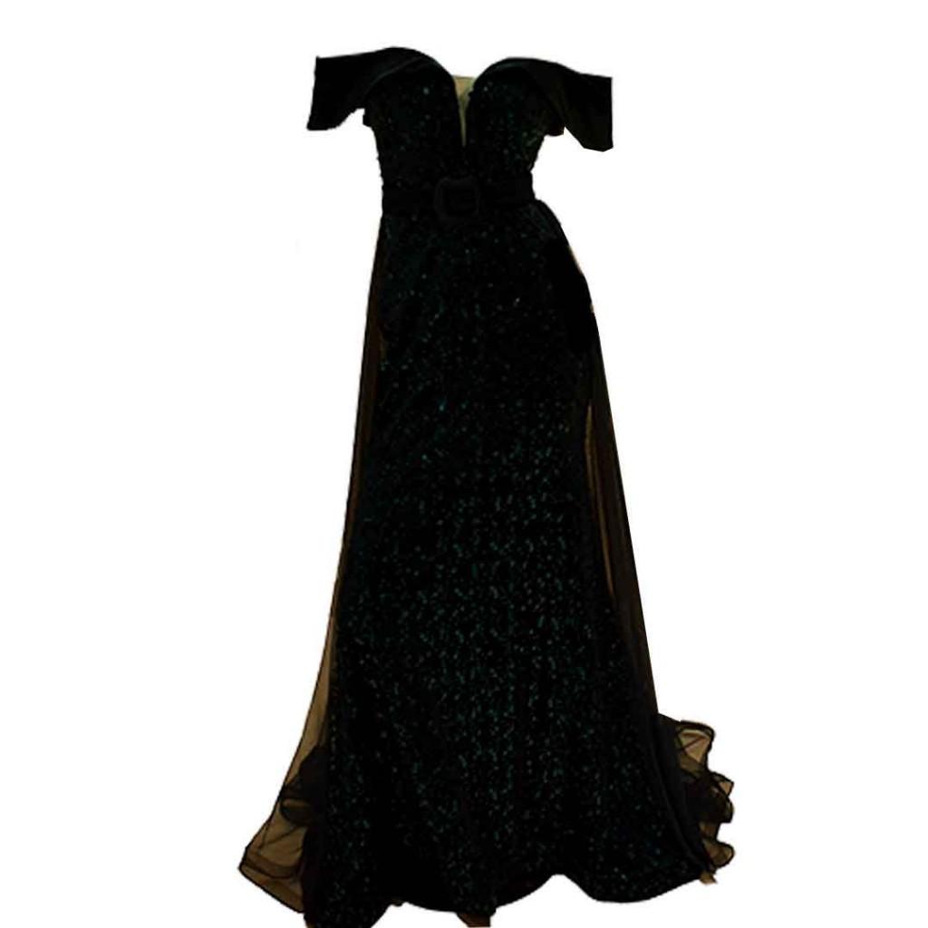 فستان اخضر مخمل ترتر قطعتين