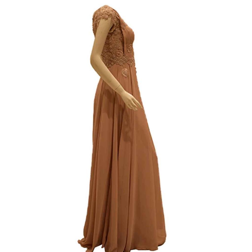 فستان لحمي شيفون كم جبنيز لؤلؤ