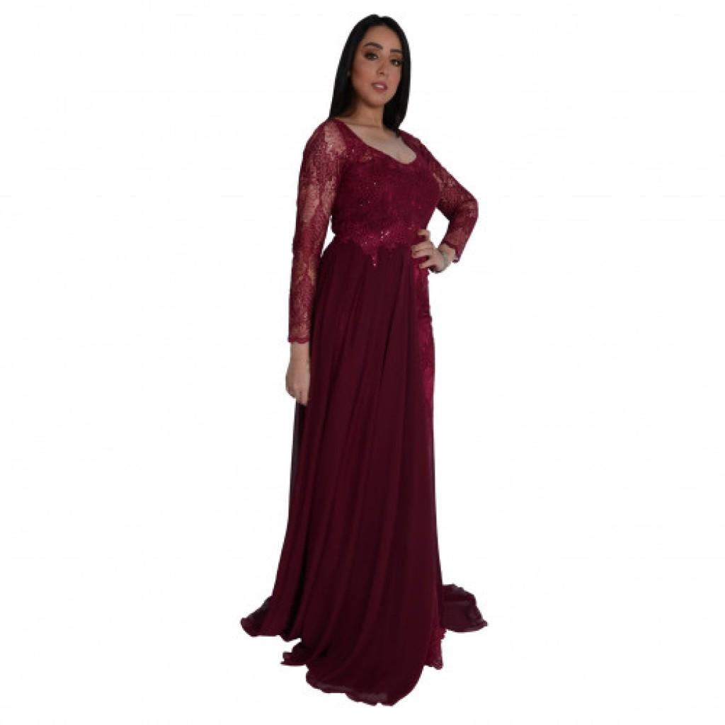 فستان دانتيل جنب شيفون كم طويل