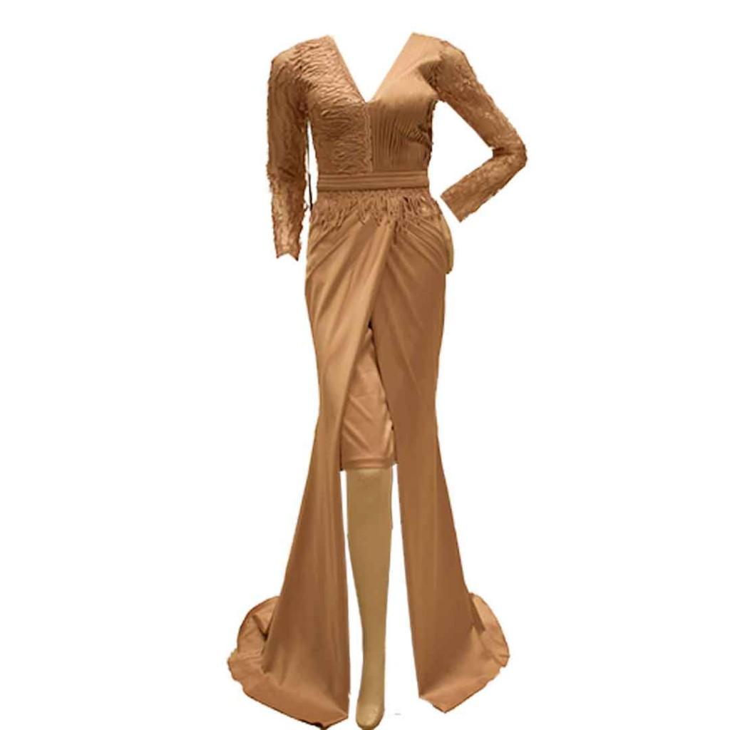 فستان  صدر بلاسية + دانتيل كم طويل
