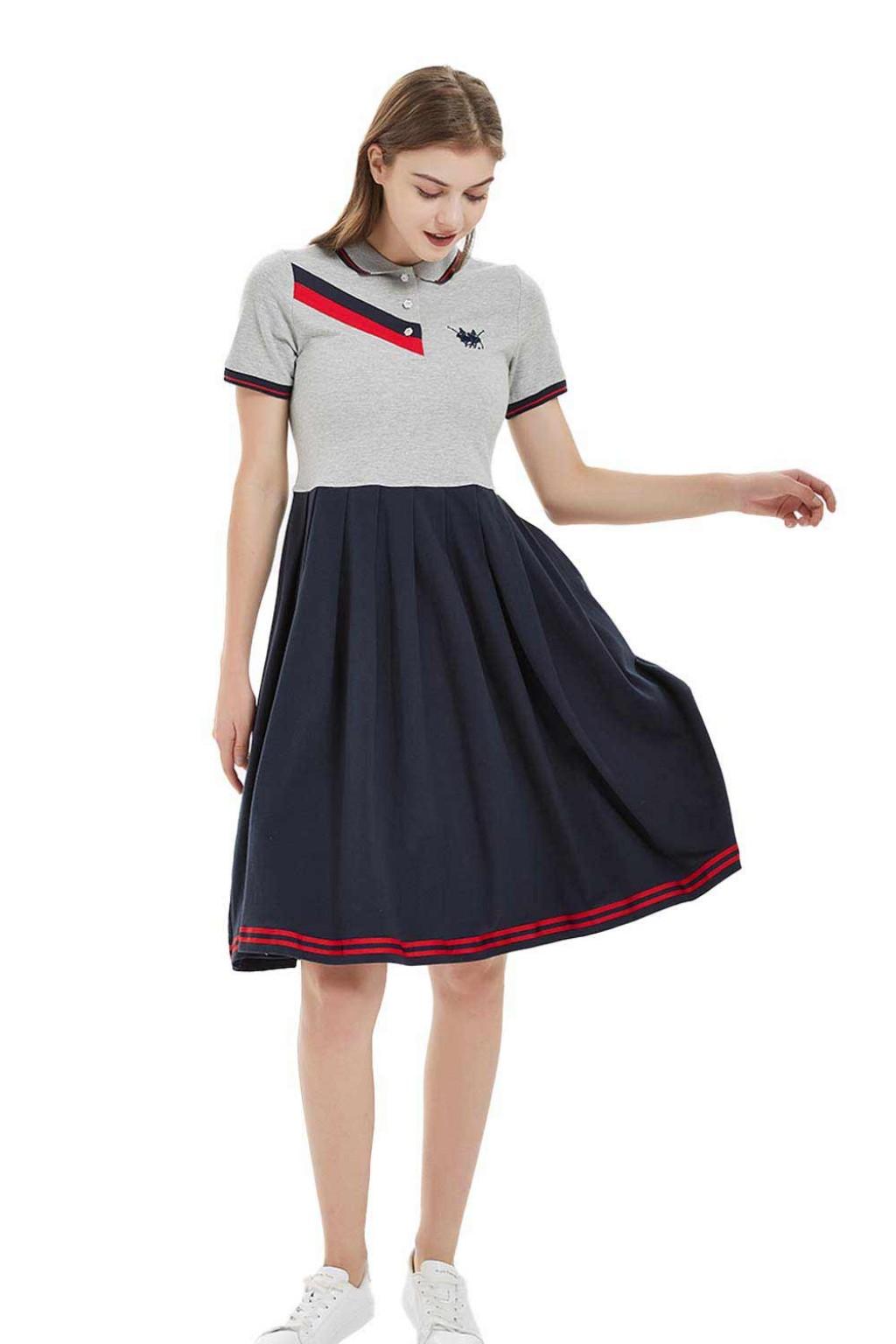 فستان بولو نسائي باللون الرمادي والكحلي