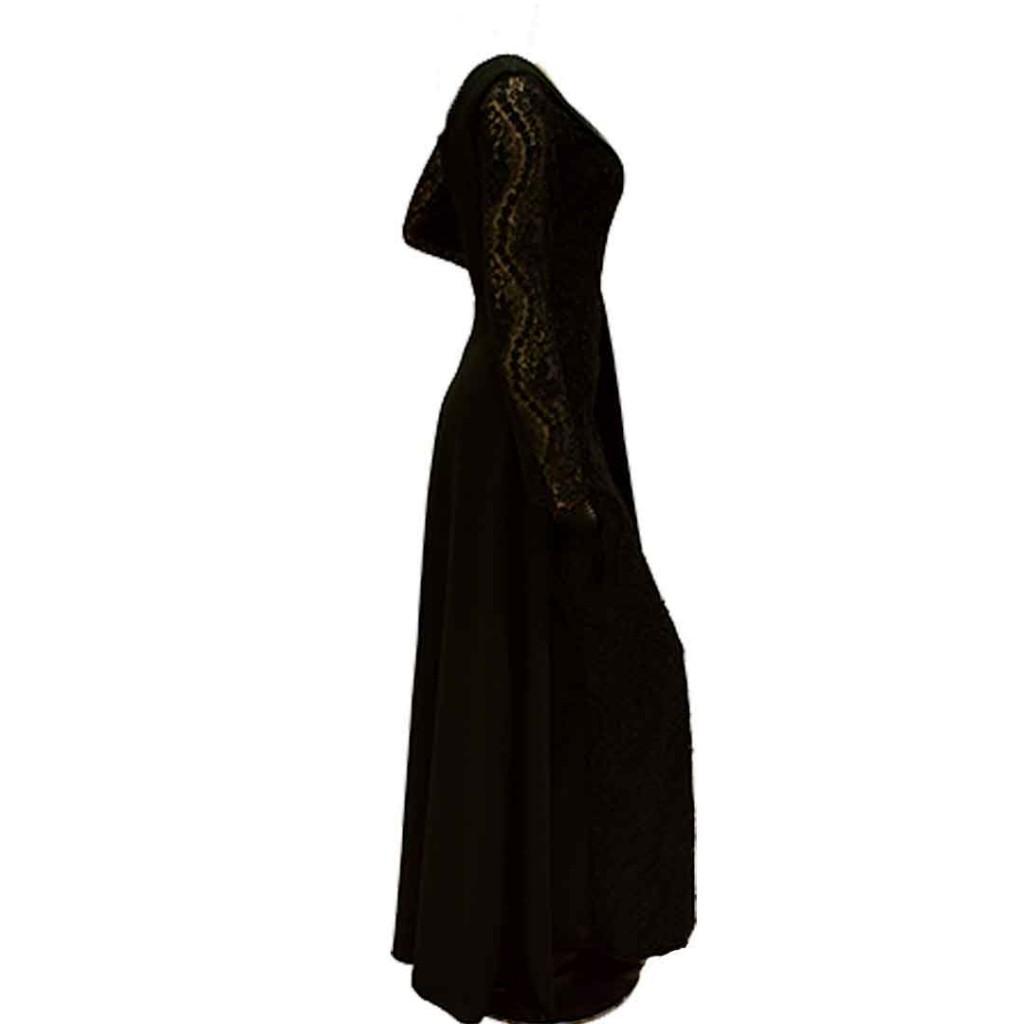 فستان باذنجاني دانتيل  كتف وجنب شيفون