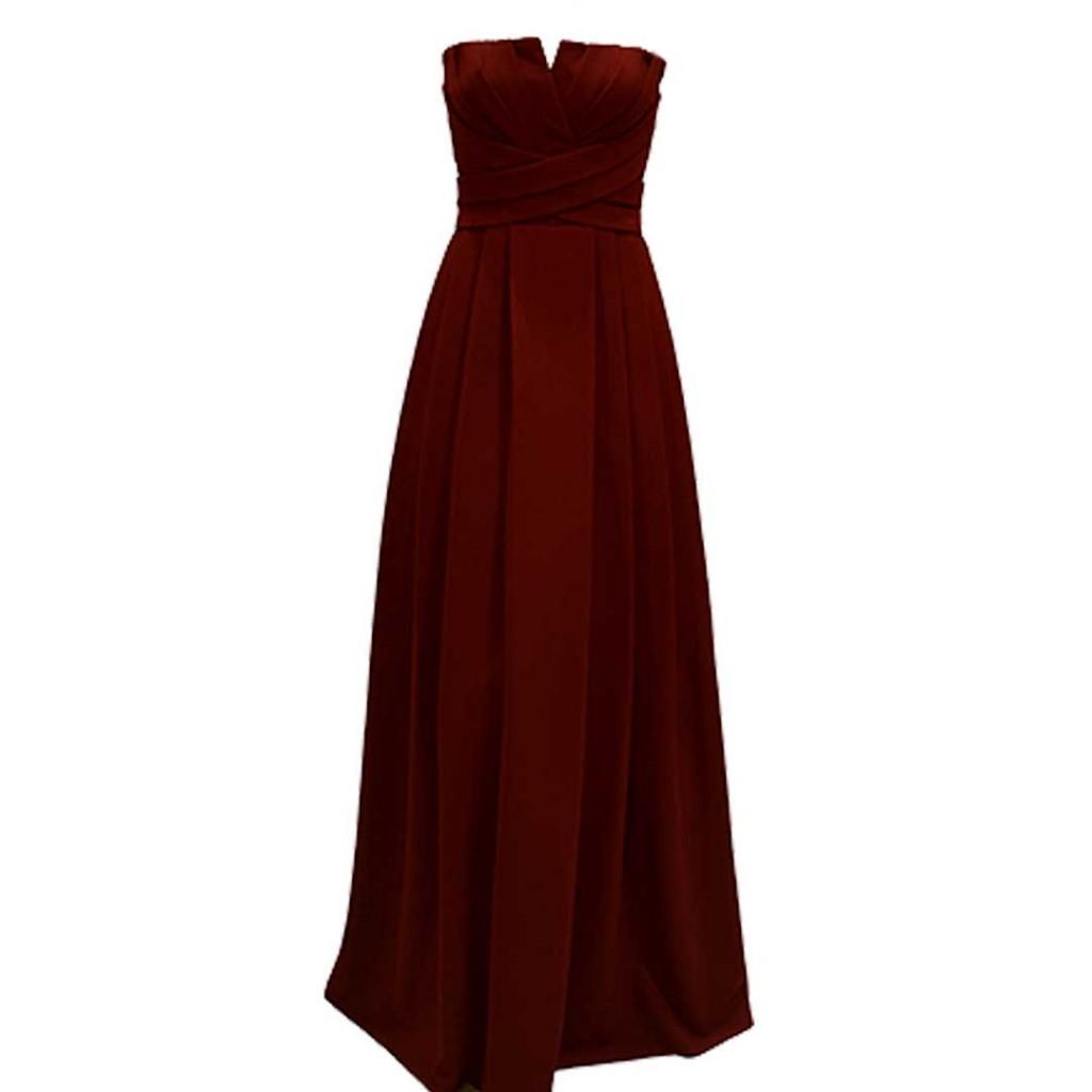 فستان احمر قماش كريب