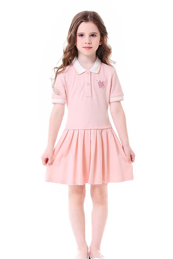 فستان بولو بناتي وردي