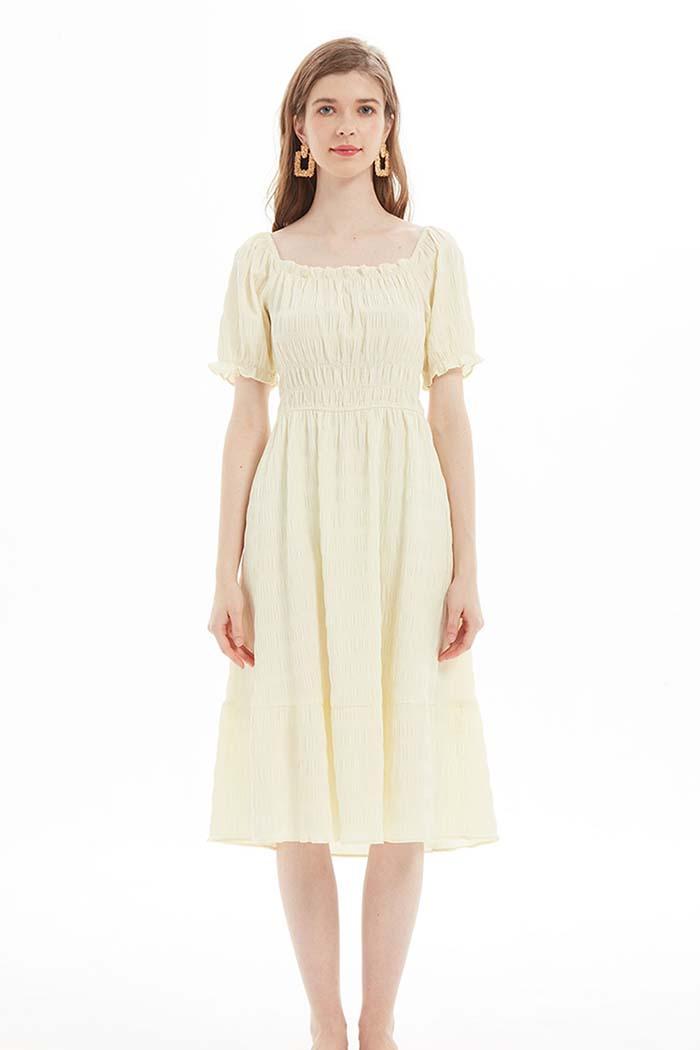 فستان نسائي لون اصفر فاتح