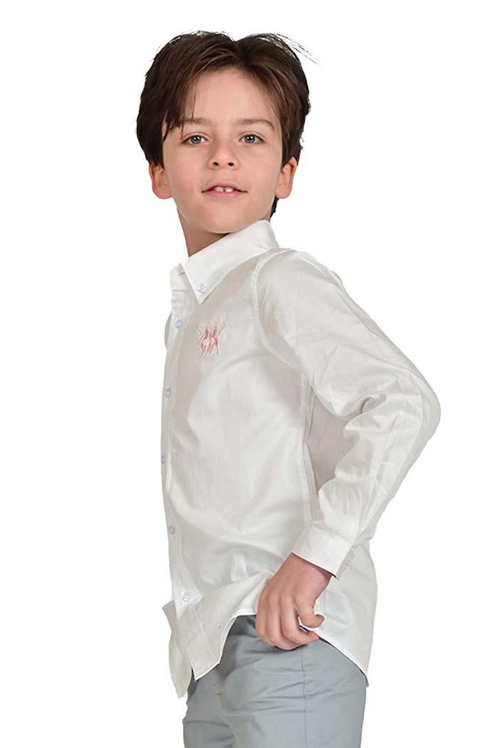 قميص اولاد لون ابيض مطفي