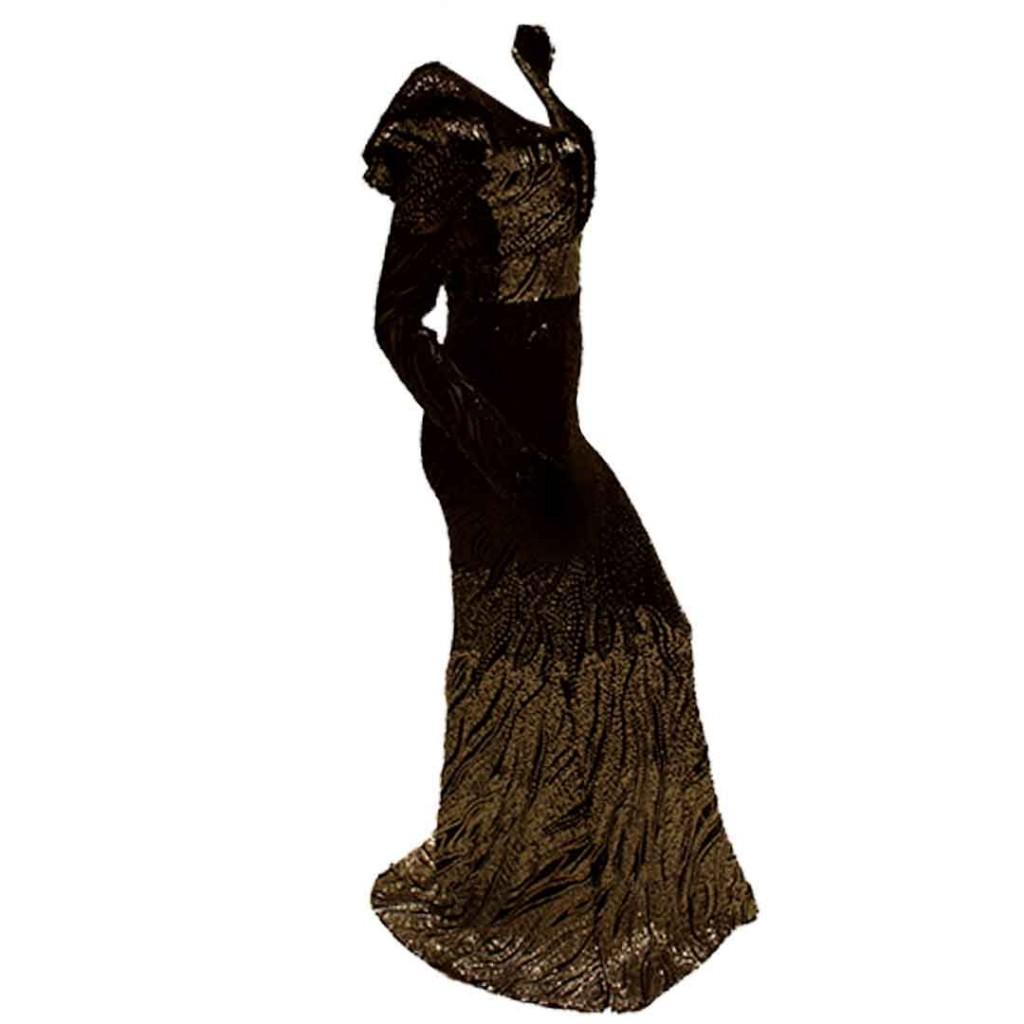 فستان فضي على اسود ترتر