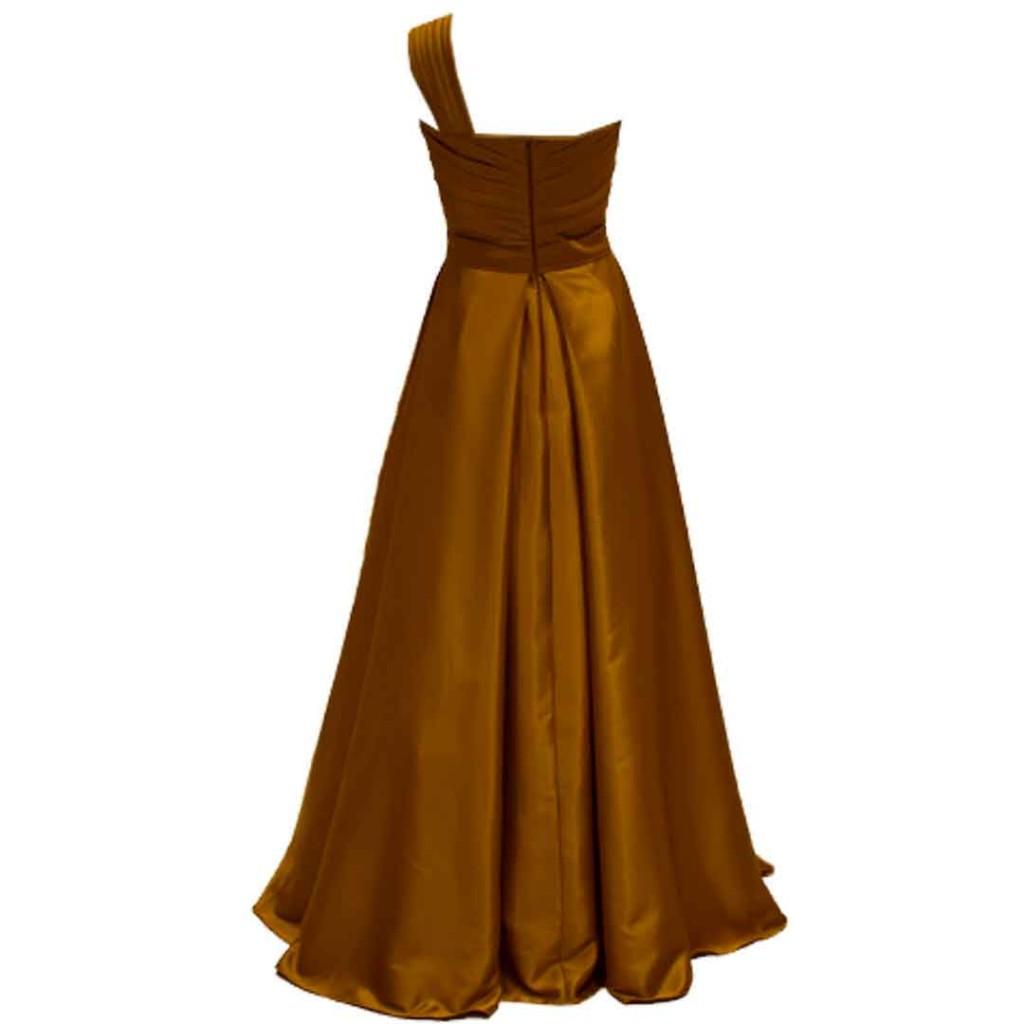 فستان كموني على ذهبي صدر دربية كتف واحد