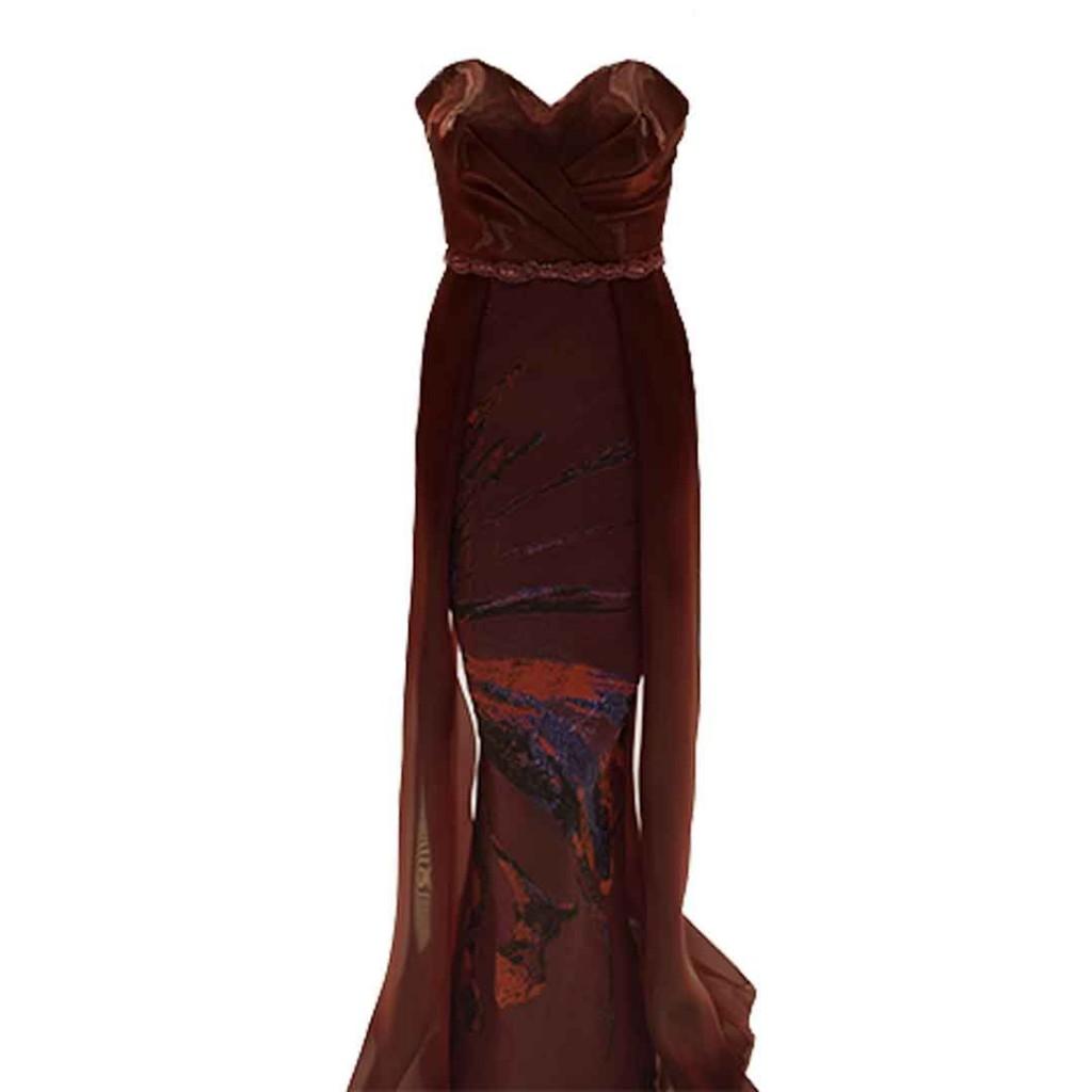 فستان عنابي اورقنزا حزام شك تنورة مشجر