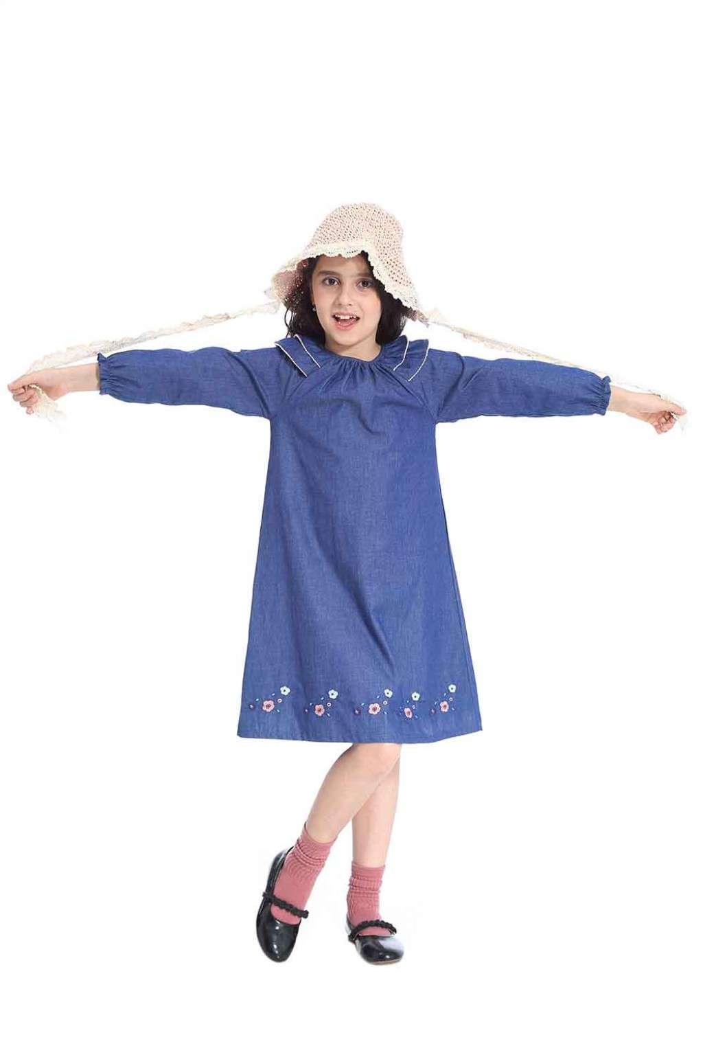 فستان بناتي جينز أزرق
